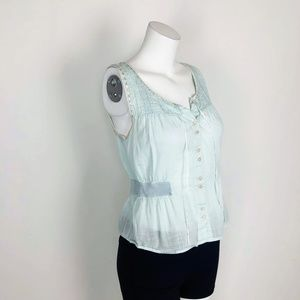 Free People Crop Peasant Mint Green Button Blouse